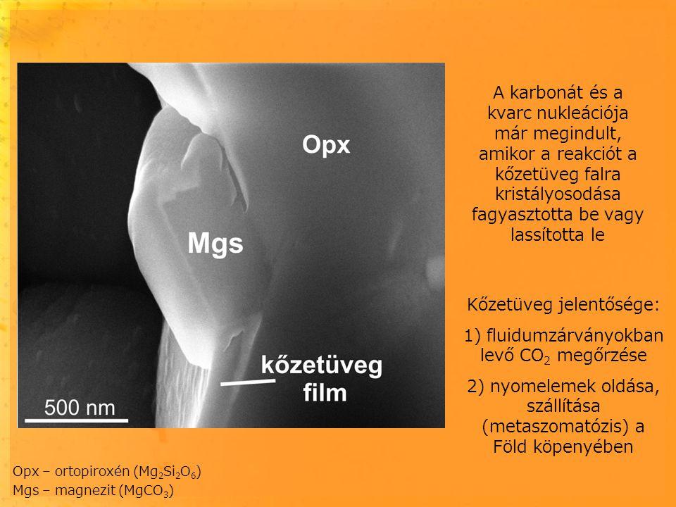 Kőzetüveg jelentősége: 1) fluidumzárványokban levő CO 2 megőrzése 2) nyomelemek oldása, szállítása (metaszomatózis) a Föld köpenyében Opx – ortopiroxé