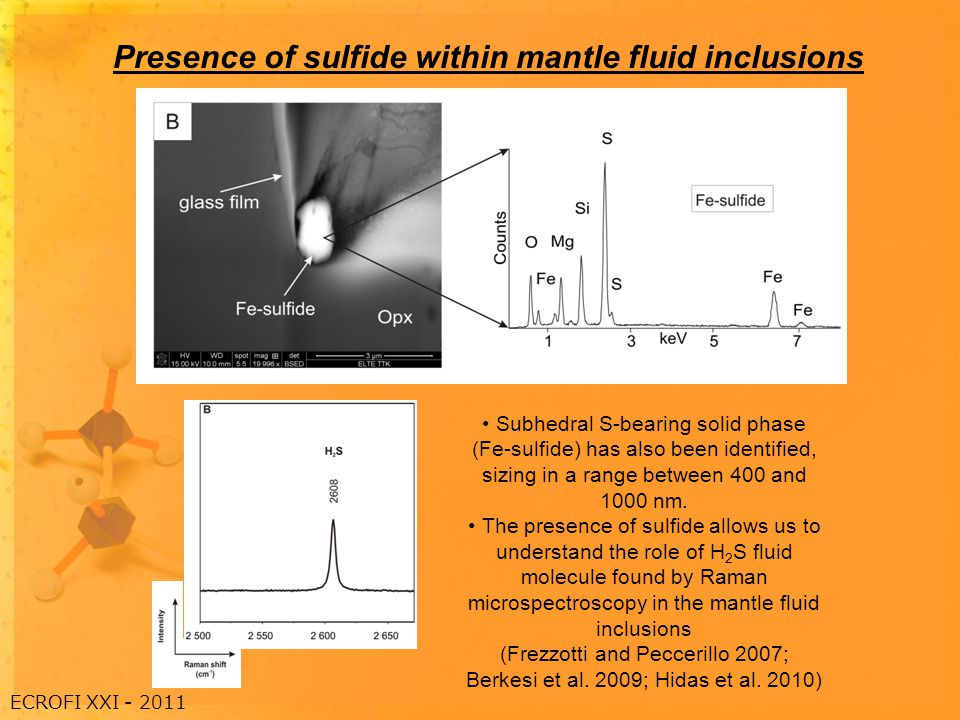 Presence of sulfide within mantle fluid inclusions Subhedral S-bearing solid phase (Fe-sulfide) has also been identified, sizing in a range between 400 and 1000 nm.