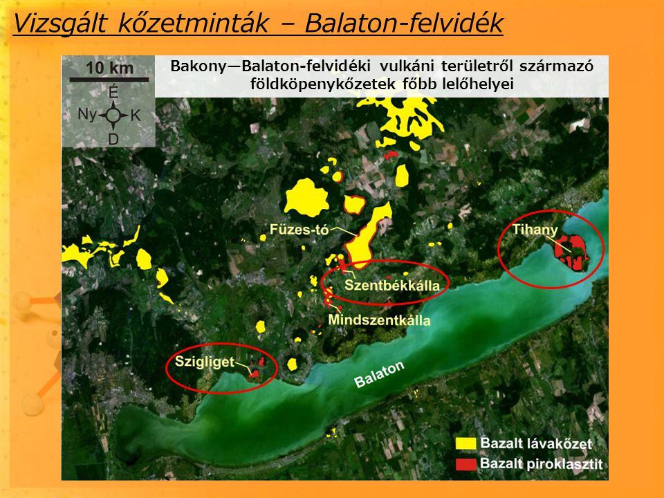 Vizsgált kőzetminták – Balaton-felvidék Bakony—Balaton-felvidéki vulkáni területről származó földköpenykőzetek főbb lelőhelyei