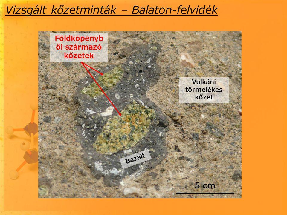 A fluidumzárványok mikroszkópi képe Bezáró ásvány: Mg-szilikát (Opx=ortopiroxén: Mg 2 Si 2 O 6 ) Méret: 2-70 mikrométer Negatív kristály alak Döntően folyadék fázis tölti ki (T=25 o C), ritkán szilárd fázisok láthatóak Általában beforrt repedések mentén fordulnak elő