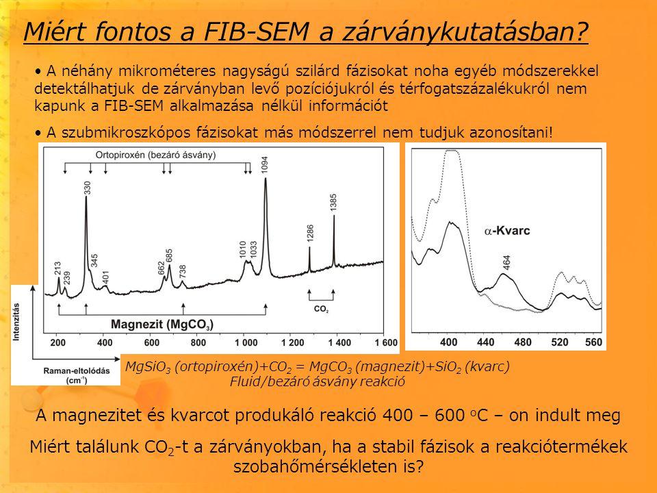 A néhány mikrométeres nagyságú szilárd fázisokat noha egyéb módszerekkel detektálhatjuk de zárványban levő pozíciójukról és térfogatszázalékukról nem kapunk a FIB-SEM alkalmazása nélkül információt A szubmikroszkópos fázisokat más módszerrel nem tudjuk azonosítani.