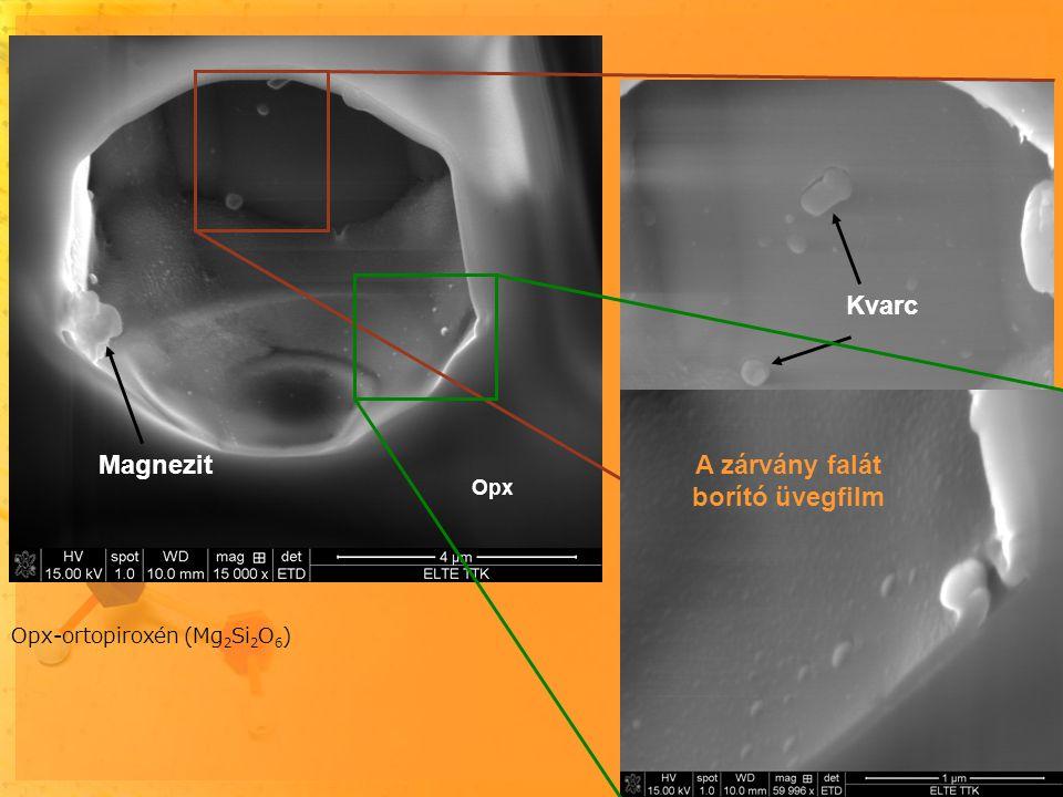 Kőzetüveg jelentősége: 1) fluidumzárványokban levő CO 2 megőrzése 2) nyomelemek oldása, szállítása (metaszomatózis) a Föld köpenyében Opx – ortopiroxén (Mg 2 Si 2 O 6 ) Mgs – magnezit (MgCO 3 ) A karbonát és a kvarc nukleációja már megindult, amikor a reakciót a kőzetüveg falra kristályosodása fagyasztotta be vagy lassította le