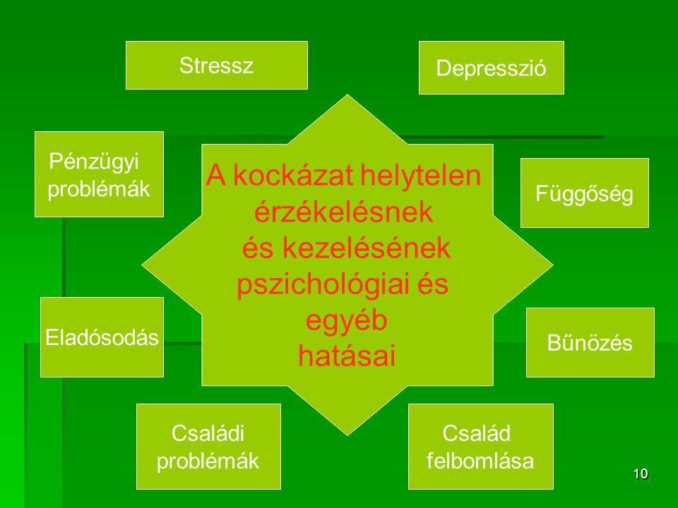 10 A kockázat helytelen érzékelésnek és kezelésének pszichológiai és egyéb hatásai Stressz Depresszió Család felbomlása Családi problémák Pénzügyi problémák Eladósodás Bűnözés Függőség