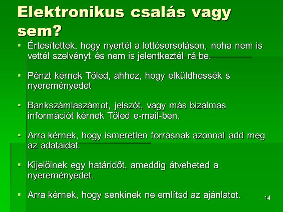 14 Elektronikus csalás vagy sem.