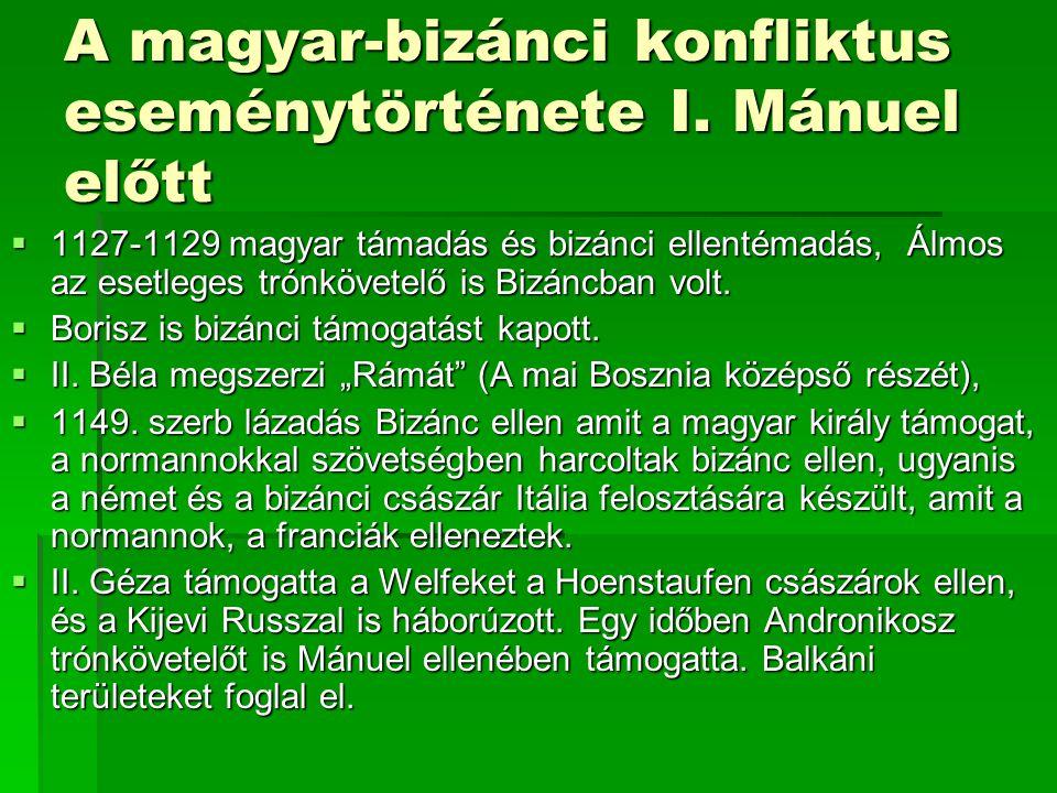 A magyar-bizánci konfliktus eseménytörténete I. Mánuel előtt  1127-1129 magyar támadás és bizánci ellentémadás, Álmos az esetleges trónkövetelő is Bi