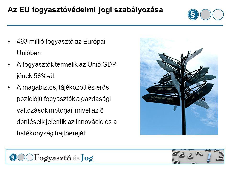 A fogyasztóvédelmi jog egységesítése a Római Szerződéstől napjainkig Soft law időszak – jogalkotási felhatalmazás nélkül Minimum harmonizáció (kiv: termékfelelősségi irányelv) Maastricti Szerződéstől – Lisszaboni Szerződésig Horizontális politika (EUMSZ.