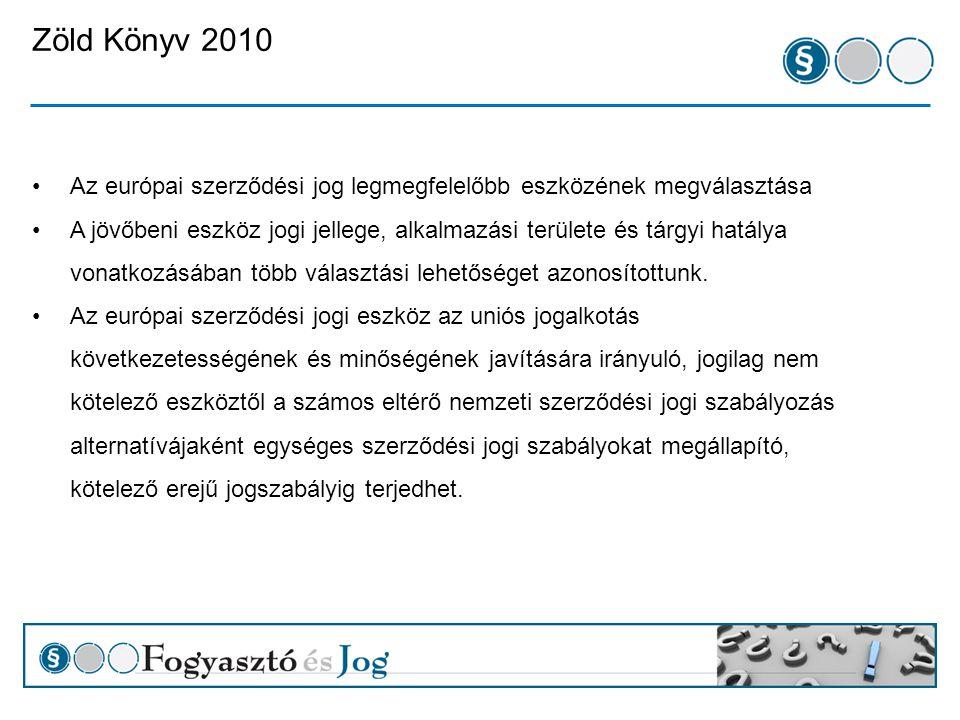 Zöld Könyv 2010 1.választási lehetőség: A szakértői csoport eredményeinek közzététele 2.