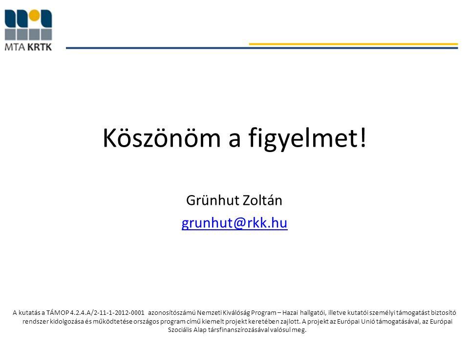 Köszönöm a figyelmet! Grünhut Zoltán grunhut@rkk.hu A kutatás a TÁMOP 4.2.4.A/2-11-1-2012-0001 azonosítószámú Nemzeti Kiválóság Program – Hazai hallga