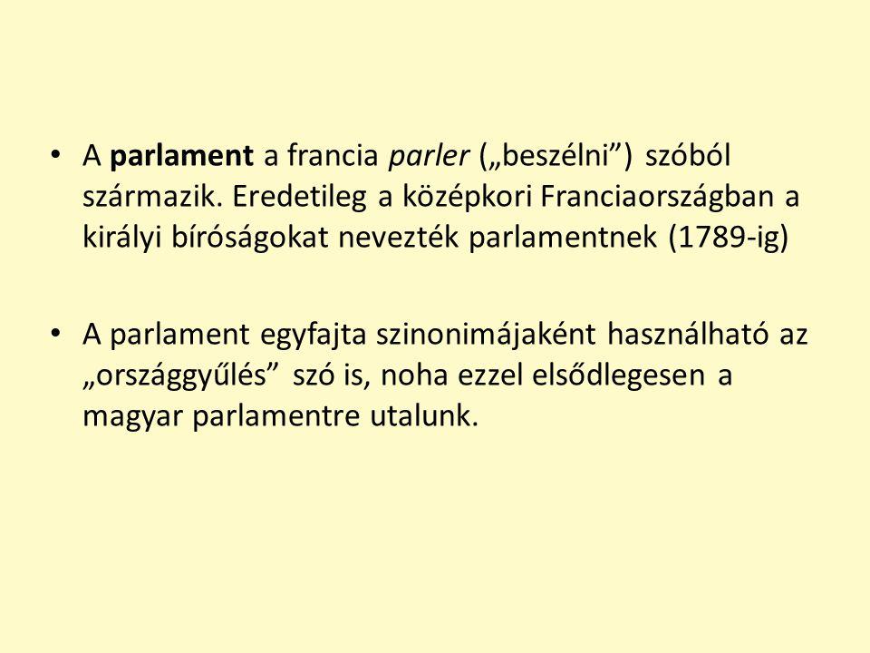 """A parlament a francia parler (""""beszélni"""") szóból származik. Eredetileg a középkori Franciaországban a királyi bíróságokat nevezték parlamentnek (1789-"""