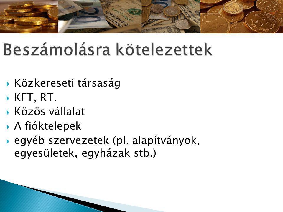 Közkereseti társaság  KFT, RT. Közös vállalat  A fióktelepek  egyéb szervezetek (pl.