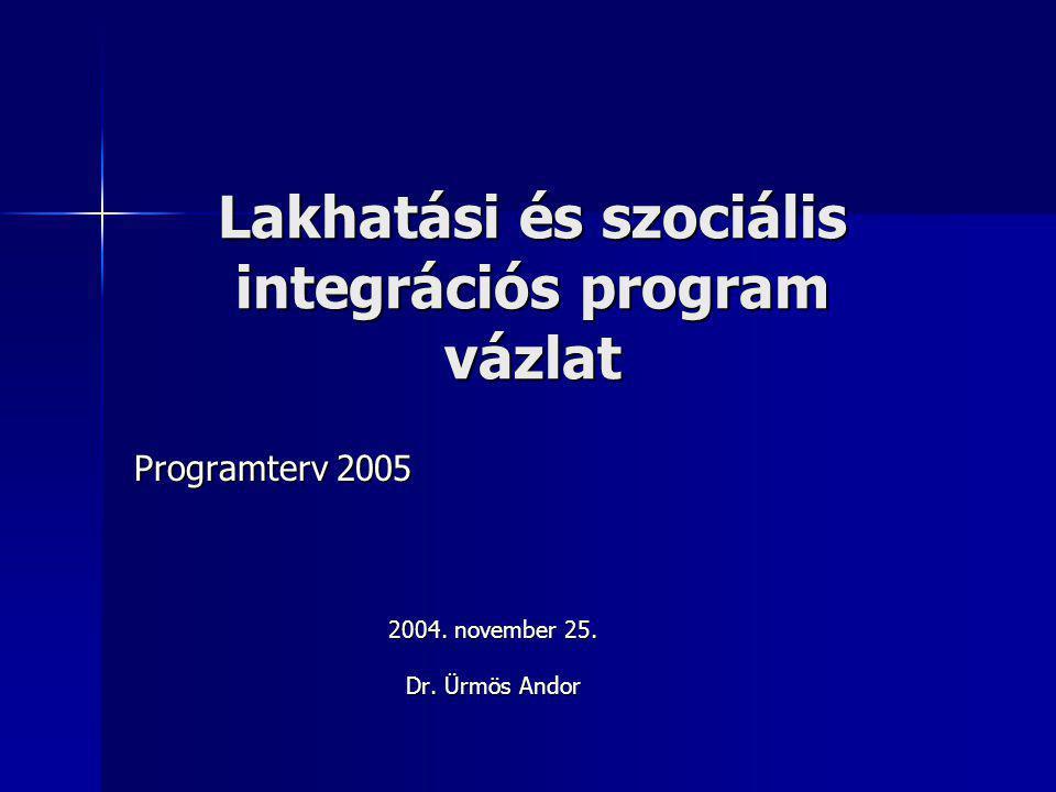 Lakhatási és szociális integrációs program vázlat Programterv 2005 2004. november 25. Dr. Ürmös Andor