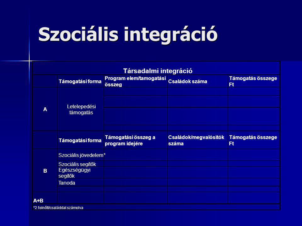 Szociális integráció Támogatási forma Program elem/tamogatási összeg Családok száma Támogatás összege Ft Támogatási forma Támogatási összeg a program idejére Családok/megvalósítók száma Támogatás összege Ft Szociális jövedelem* Szociális segítők Egészségügyi segítők Tanoda A+B *2 felnőtt/családdal számolva Társadalmi integráció Letelepedési támogatás A B