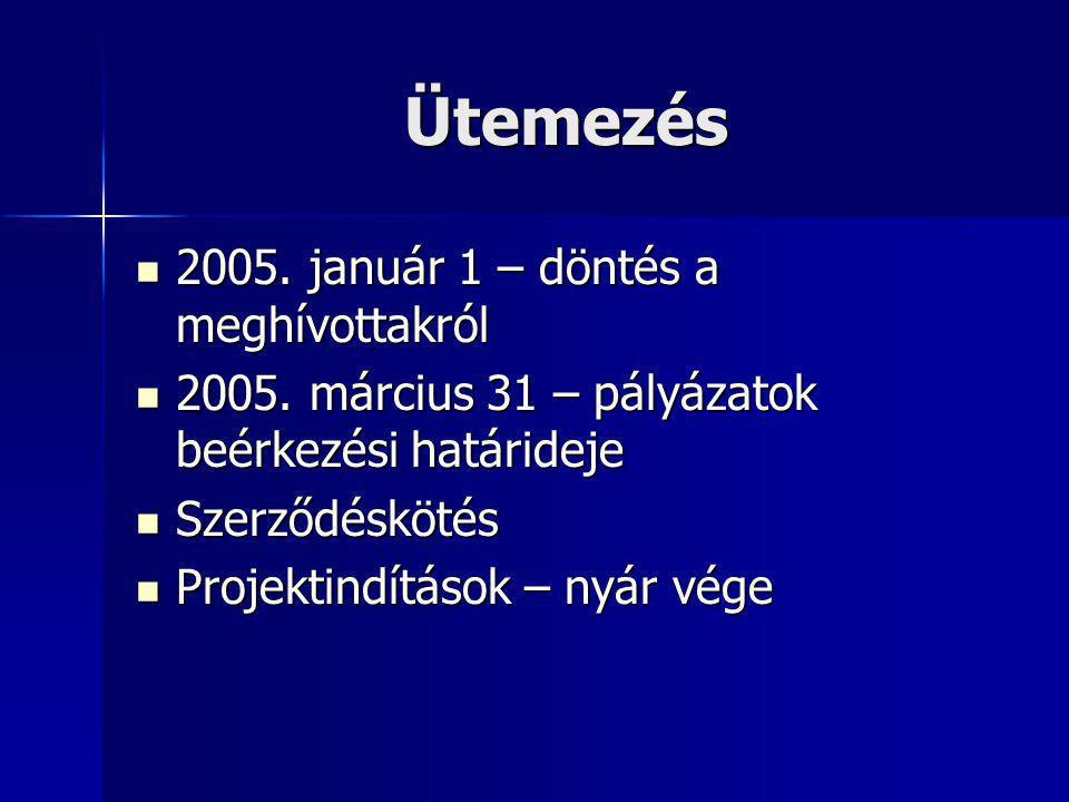 Ütemezés 2005. január 1 – döntés a meghívottakról 2005. január 1 – döntés a meghívottakról 2005. március 31 – pályázatok beérkezési határideje 2005. m