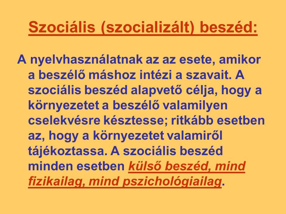 Szociális (szocializált) beszéd: A nyelvhasználatnak az az esete, amikor a beszélő máshoz intézi a szavait. A szociális beszéd alapvető célja, hogy a
