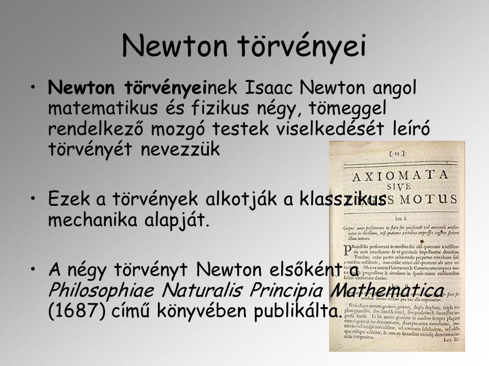 Newton törvényei Newton törvényeinek Isaac Newton angol matematikus és fizikus négy, tömeggel rendelkező mozgó testek viselkedését leíró törvényét nev