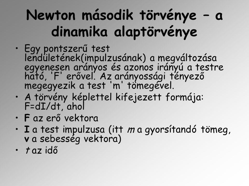 Newton második törvénye – a dinamika alaptörvénye Egy pontszerű test lendületének(impulzusának) a megváltozása egyenesen arányos és azonos irányú a te