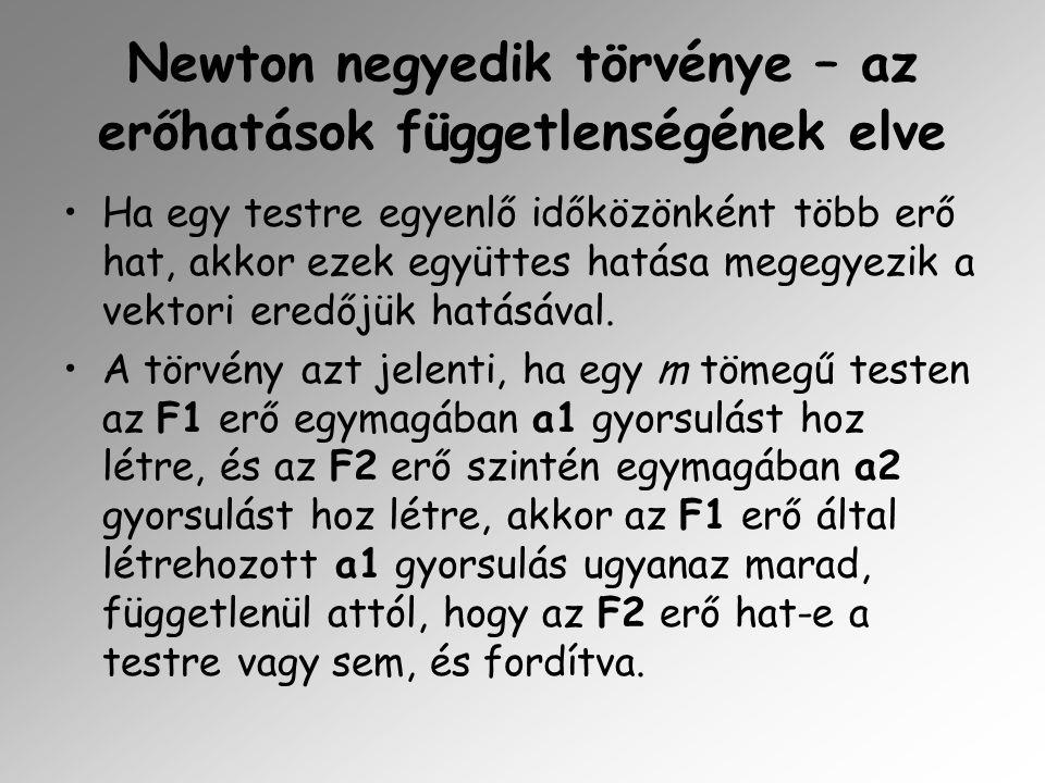 Newton negyedik törvénye – az erőhatások függetlenségének elve Ha egy testre egyenlő időközönként több erő hat, akkor ezek együttes hatása megegyezik