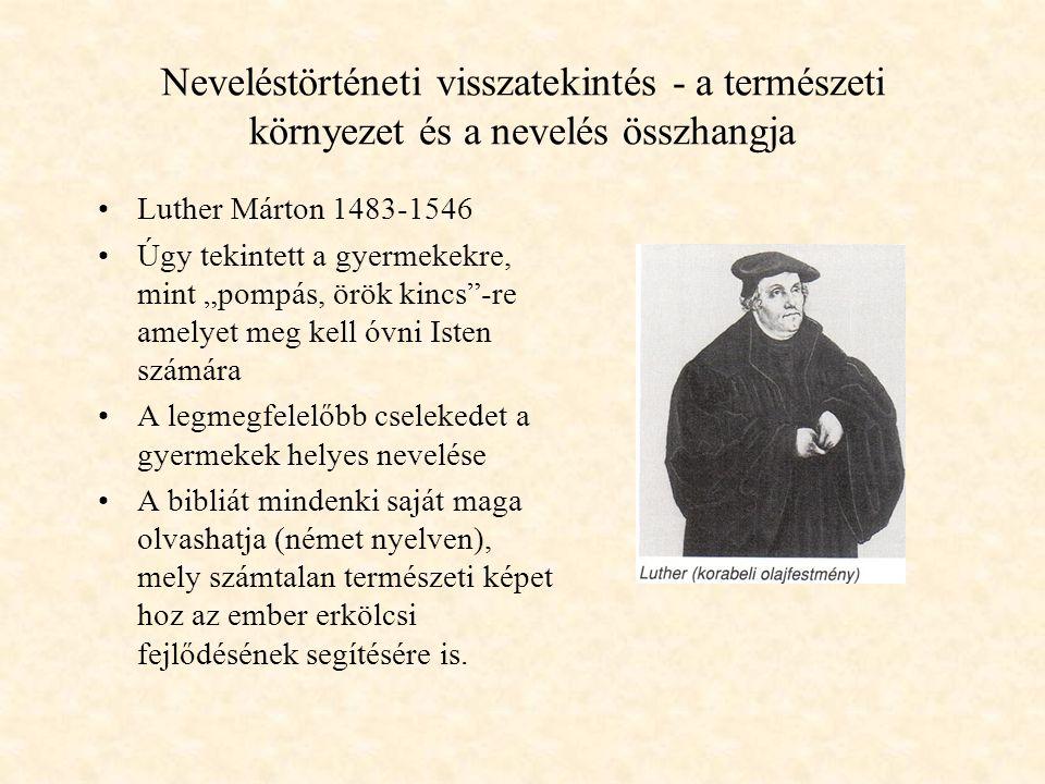 """Neveléstörténeti visszatekintés - a természeti környezet és a nevelés összhangja Luther Márton 1483-1546 Úgy tekintett a gyermekekre, mint """"pompás, örök kincs -re amelyet meg kell óvni Isten számára A legmegfelelőbb cselekedet a gyermekek helyes nevelése A bibliát mindenki saját maga olvashatja (német nyelven), mely számtalan természeti képet hoz az ember erkölcsi fejlődésének segítésére is."""