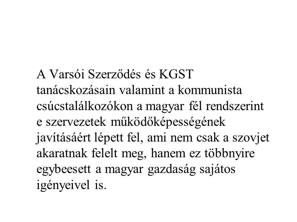 A Varsói Szerződés és KGST tanácskozásain valamint a kommunista csúcstalálkozókon a magyar fél rendszerint e szervezetek működőképességének javításáér