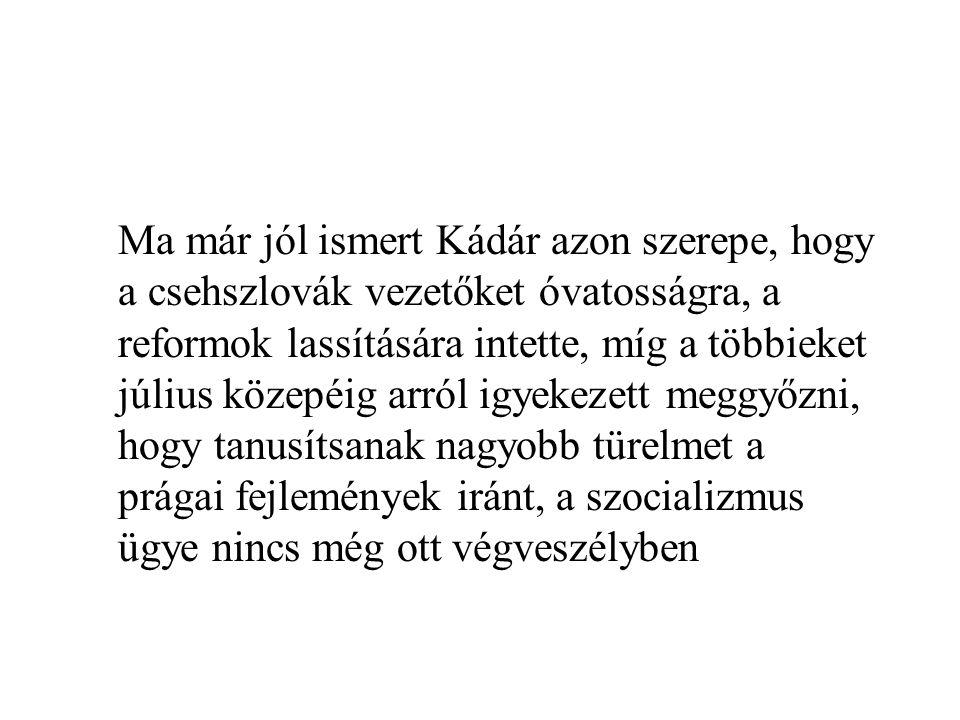 Ma már jól ismert Kádár azon szerepe, hogy a csehszlovák vezetőket óvatosságra, a reformok lassítására intette, míg a többieket július közepéig arról