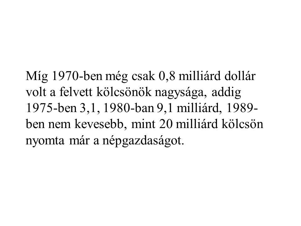 Míg 1970-ben még csak 0,8 milliárd dollár volt a felvett kölcsönök nagysága, addig 1975-ben 3,1, 1980-ban 9,1 milliárd, 1989- ben nem kevesebb, mint 2