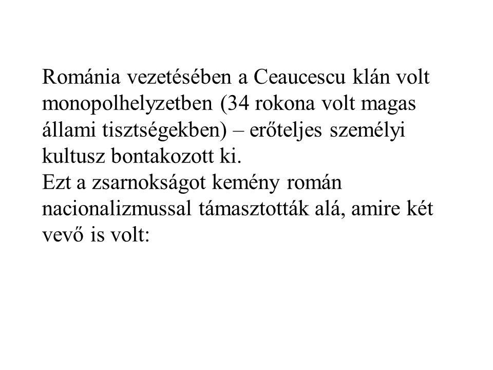 Románia vezetésében a Ceaucescu klán volt monopolhelyzetben (34 rokona volt magas állami tisztségekben) – erőteljes személyi kultusz bontakozott ki. E