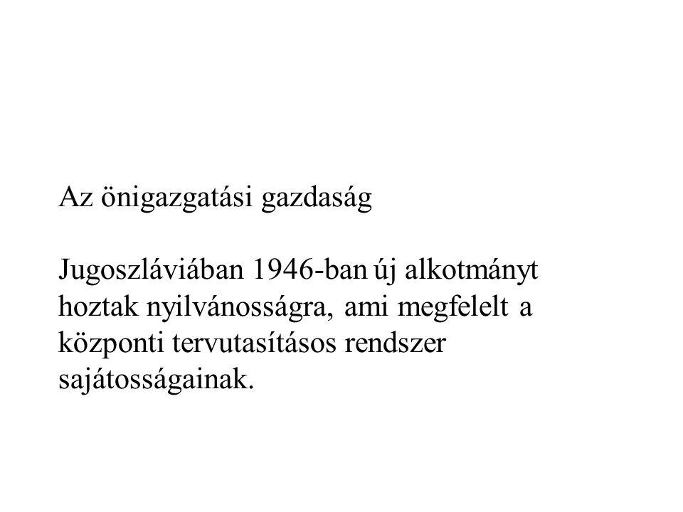 Az önigazgatási gazdaság Jugoszláviában 1946-ban új alkotmányt hoztak nyilvánosságra, ami megfelelt a központi tervutasításos rendszer sajátosságainak