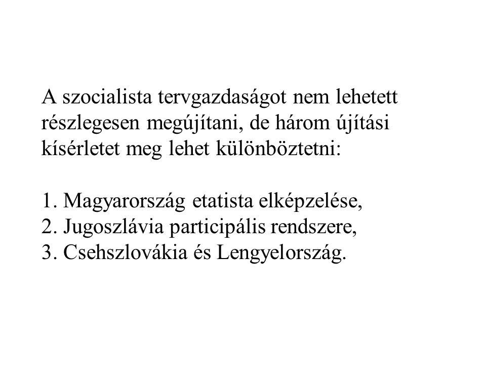 A szocialista tervgazdaságot nem lehetett részlegesen megújítani, de három újítási kísérletet meg lehet különböztetni: 1. Magyarország etatista elképz