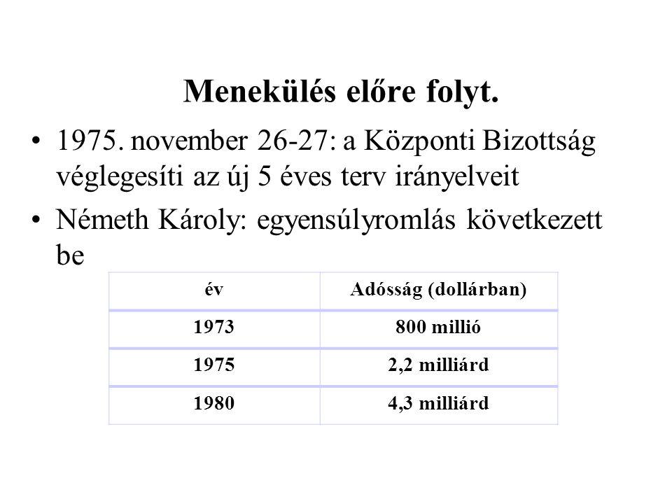 Menekülés előre folyt. 1975. november 26-27: a Központi Bizottság véglegesíti az új 5 éves terv irányelveit Németh Károly: egyensúlyromlás következett