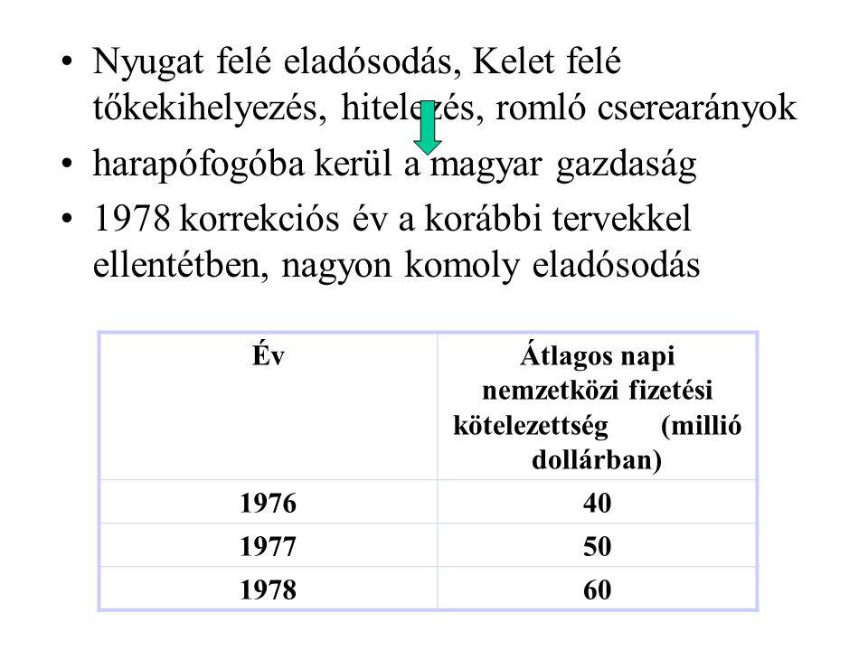 Nyugat felé eladósodás, Kelet felé tőkekihelyezés, hitelezés, romló cserearányok harapófogóba kerül a magyar gazdaság 1978 korrekciós év a korábbi ter