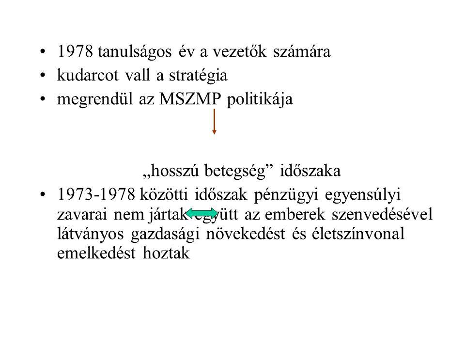 """1978 tanulságos év a vezetők számára kudarcot vall a stratégia megrendül az MSZMP politikája """"hosszú betegség"""" időszaka 1973-1978 közötti időszak pénz"""