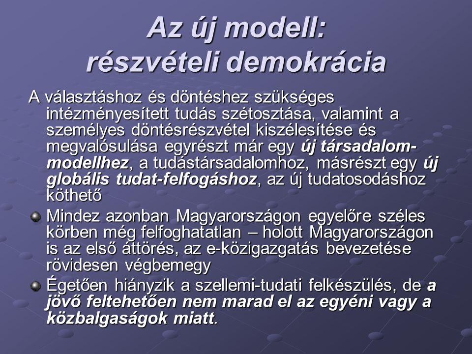 Az új modell: részvételi demokrácia A választáshoz és döntéshez szükséges intézményesített tudás szétosztása, valamint a személyes döntésrészvétel kiszélesítése és megvalósulása egyrészt már egy új társadalom- modellhez, a tudástársadalomhoz, másrészt egy új globális tudat-felfogáshoz, az új tudatosodáshoz köthető Mindez azonban Magyarországon egyelőre széles körben még felfoghatatlan – holott Magyarországon is az első áttörés, az e-közigazgatás bevezetése rövidesen végbemegy Égetően hiányzik a szellemi-tudati felkészülés, de a jövő feltehetően nem marad el az egyéni vagy a közbalgaságok miatt.