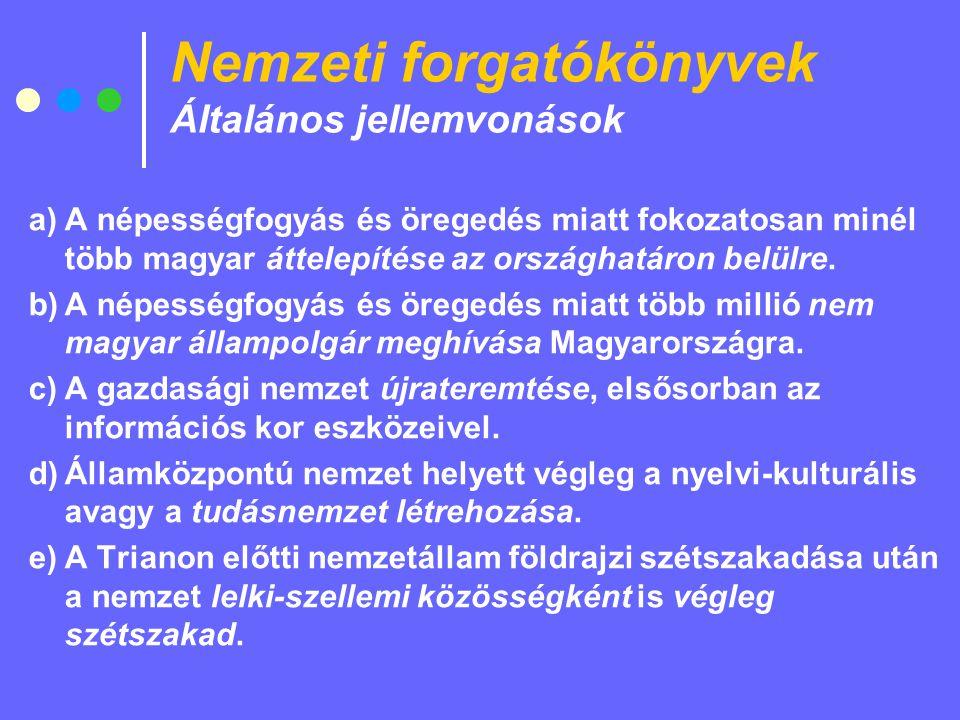 Nemzeti forgatókönyvek Általános jellemvonások a)A népességfogyás és öregedés miatt fokozatosan minél több magyar áttelepítése az országhatáron belülre.