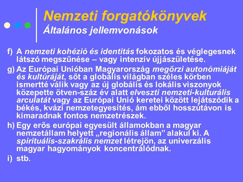 Nemzeti forgatókönyvek Általános jellemvonások f)A nemzeti kohézió és identitás fokozatos és véglegesnek látszó megszűnése – vagy intenzív újjászületése.