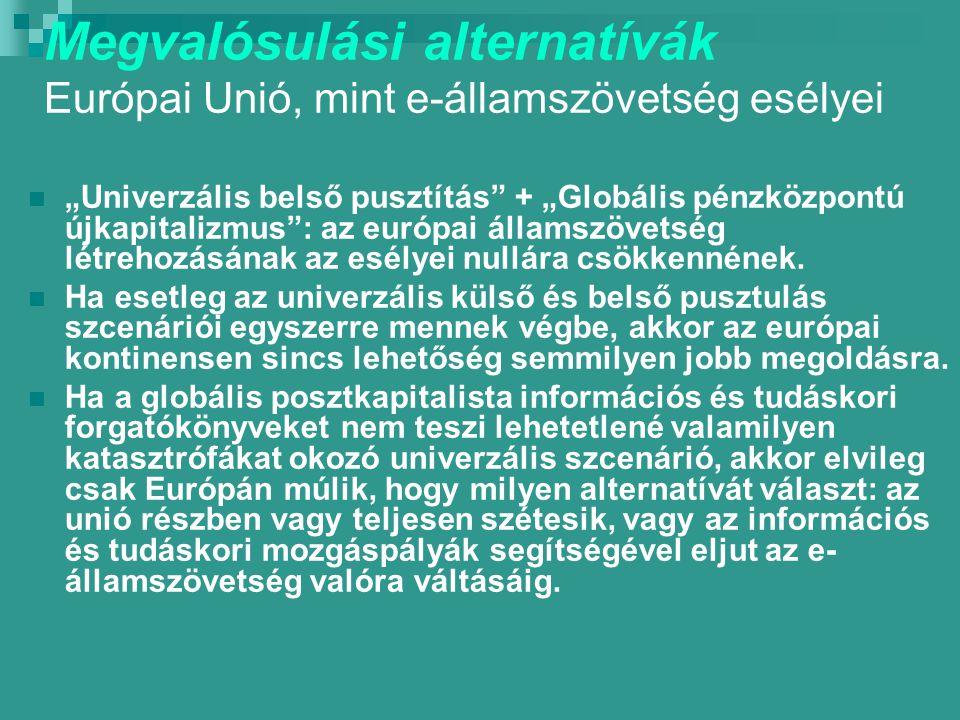 """Megvalósulási alternatívák Európai Unió, mint e-államszövetség esélyei """"Univerzális belső pusztítás + """"Globális pénzközpontú újkapitalizmus : az európai államszövetség létrehozásának az esélyei nullára csökkennének."""