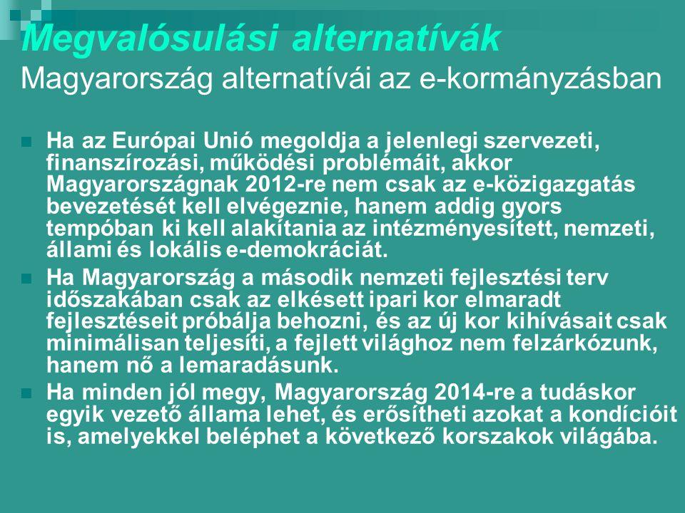 Megvalósulási alternatívák Magyarország alternatívái az e-kormányzásban Ha az Európai Unió megoldja a jelenlegi szervezeti, finanszírozási, működési problémáit, akkor Magyarországnak 2012-re nem csak az e-közigazgatás bevezetését kell elvégeznie, hanem addig gyors tempóban ki kell alakítania az intézményesített, nemzeti, állami és lokális e-demokráciát.