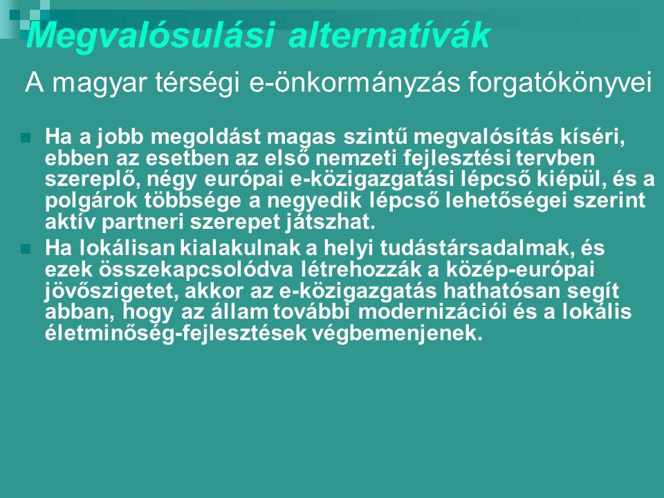 Megvalósulási alternatívák A magyar térségi e-önkormányzás forgatókönyvei Ha a jobb megoldást magas szintű megvalósítás kíséri, ebben az esetben az első nemzeti fejlesztési tervben szereplő, négy európai e-közigazgatási lépcső kiépül, és a polgárok többsége a negyedik lépcső lehetőségei szerint aktív partneri szerepet játszhat.
