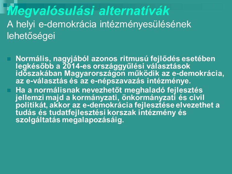 Megvalósulási alternatívák A helyi e-demokrácia intézményesülésének lehetőségei Normális, nagyjából azonos ritmusú fejlődés esetében legkésőbb a 2014-es országgyűlési választások időszakában Magyarországon működik az e-demokrácia, az e-választás és az e-népszavazás intézménye.