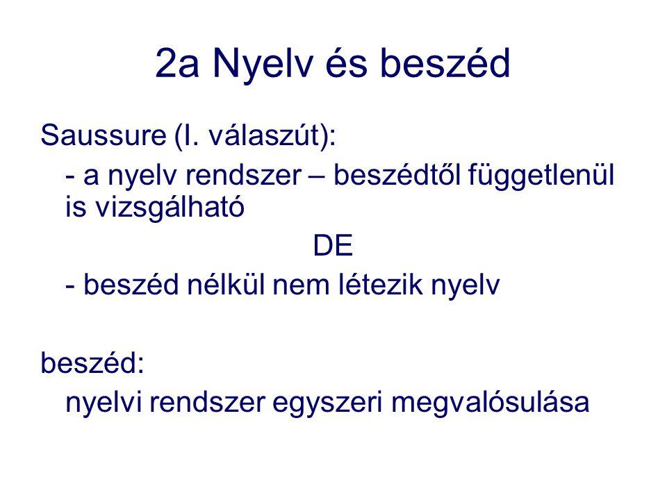 2a Nyelv és beszéd Saussure (I. válaszút): - a nyelv rendszer – beszédtől függetlenül is vizsgálható DE - beszéd nélkül nem létezik nyelv beszéd: nyel