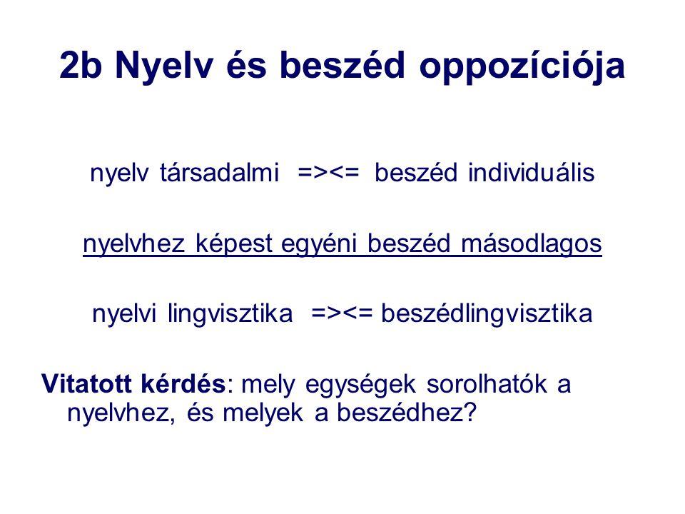2b Nyelv és beszéd oppozíciója nyelv társadalmi =><= beszéd individuális nyelvhez képest egyéni beszéd másodlagos nyelvi lingvisztika =><= beszédlingv