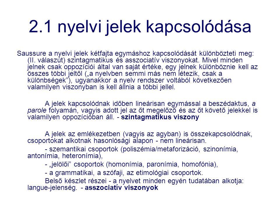 2.1 nyelvi jelek kapcsolódása Saussure a nyelvi jelek kétfajta egymáshoz kapcsolódását különbözteti meg: (II. válaszút) szintagmatikus és asszociatív