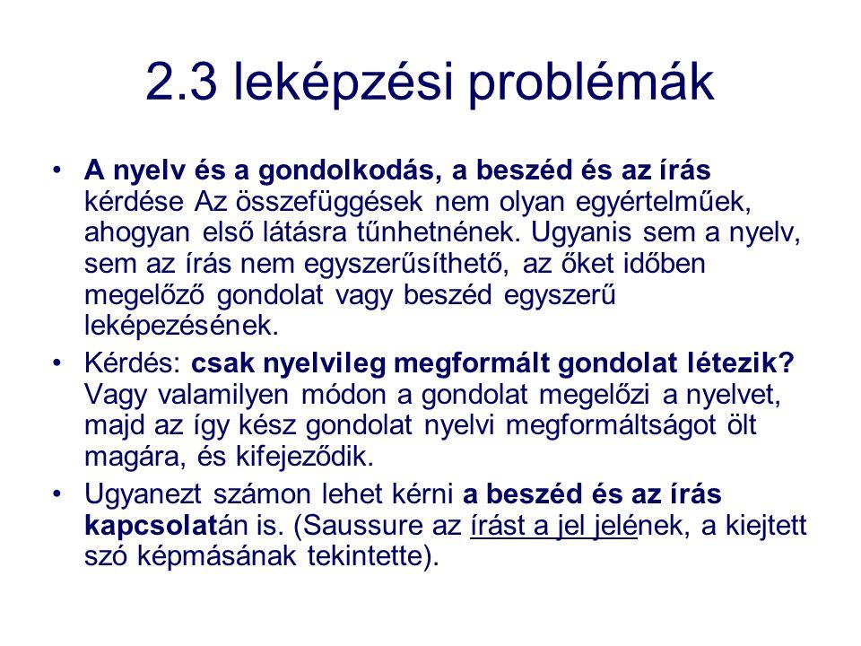 2.3 leképzési problémák A nyelv és a gondolkodás, a beszéd és az írás kérdése Az összefüggések nem olyan egyértelműek, ahogyan első látásra tűnhetnéne