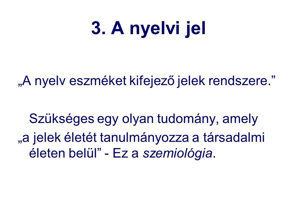 """3. A nyelvi jel """"A nyelv eszméket kifejező jelek rendszere."""" Szükséges egy olyan tudomány, amely """"a jelek életét tanulmányozza a társadalmi életen bel"""