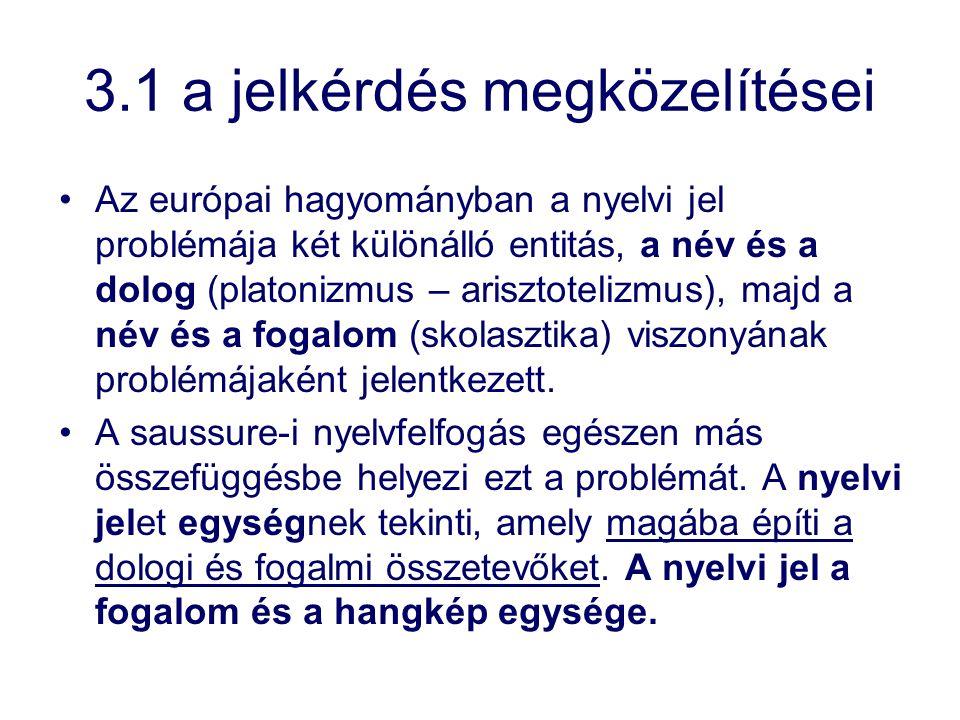 3.1 a jelkérdés megközelítései Az európai hagyományban a nyelvi jel problémája két különálló entitás, a név és a dolog (platonizmus – arisztotelizmus)