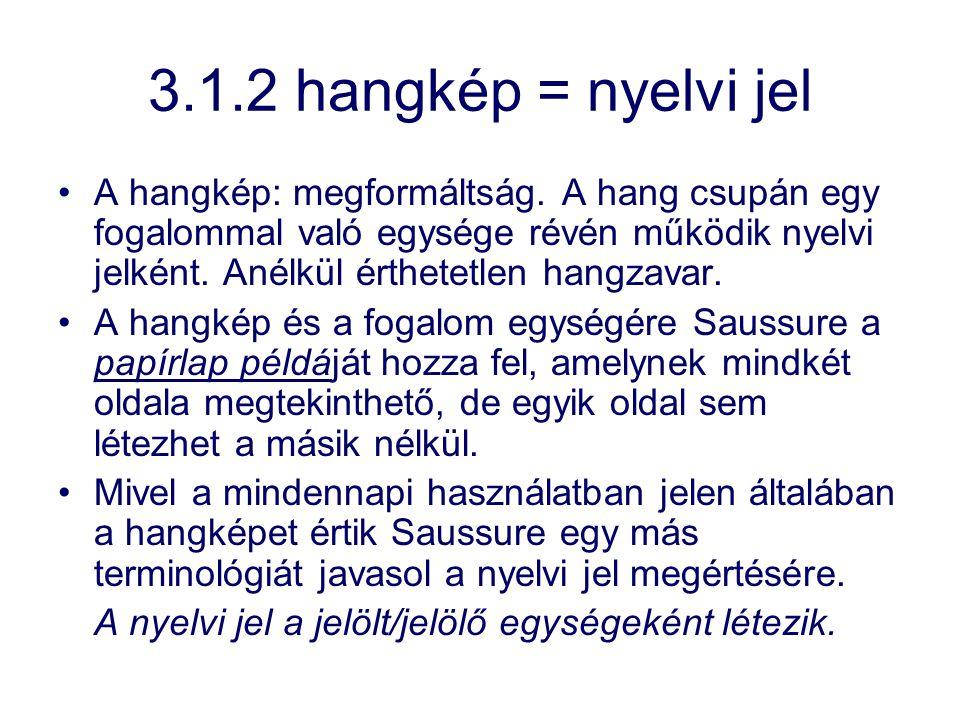 3.1.2 hangkép = nyelvi jel A hangkép: megformáltság. A hang csupán egy fogalommal való egysége révén működik nyelvi jelként. Anélkül érthetetlen hangz