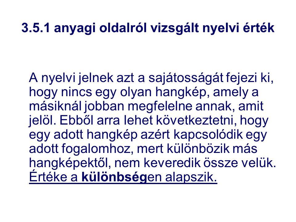 3.5.1 anyagi oldalról vizsgált nyelvi érték A nyelvi jelnek azt a sajátosságát fejezi ki, hogy nincs egy olyan hangkép, amely a másiknál jobban megfel