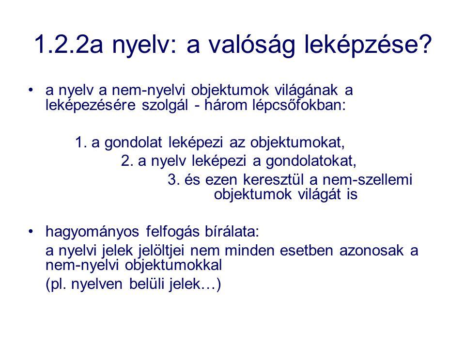 1.2.2a nyelv: a valóság leképzése? a nyelv a nem-nyelvi objektumok világának a leképezésére szolgál - három lépcsőfokban: 1. a gondolat leképezi az ob