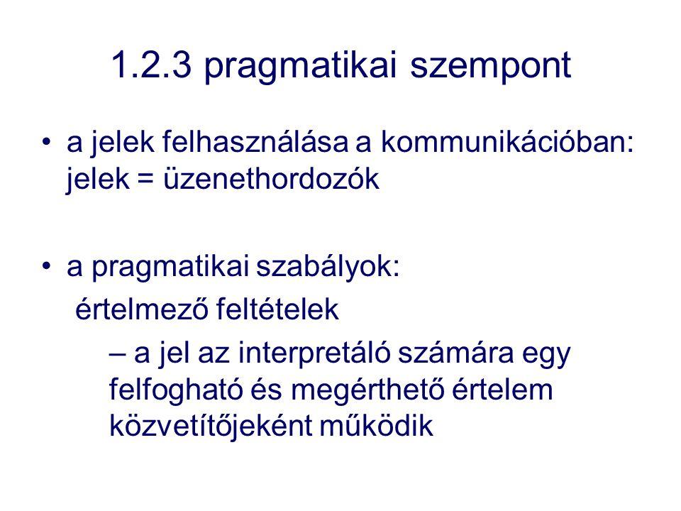 1.2.3 pragmatikai szempont a jelek felhasználása a kommunikációban: jelek = üzenethordozók a pragmatikai szabályok: értelmező feltételek – a jel az in