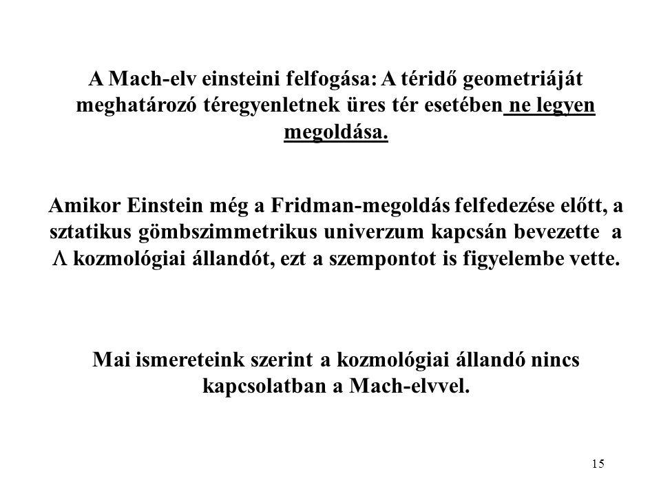 15 A Mach-elv einsteini felfogása: A téridő geometriáját meghatározó téregyenletnek üres tér esetében ne legyen megoldása. Amikor Einstein még a Fridm