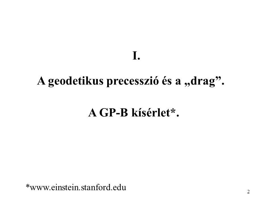 """2 A geodetikus precesszió és a """"drag"""". A GP-B kísérlet*. *www.einstein.stanford.edu I."""